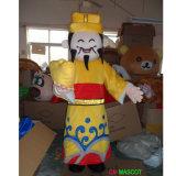 Dios de la abundancia con el traje amarillo de la mascota de la alineada