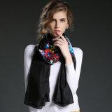 Zwarte Sexy Dame Digital Printing Silk Scarves Sjaals