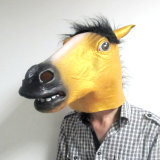 O cavalo popular animal principal cheio de Cosplay Brown do látex extravagante veste acima a máscara do carnaval