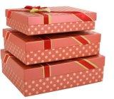 Rectángulo de regalo rosado del recuerdo con el conjunto del chocolate de la cinta con el PVC