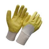Hälfte tauchte Nitril-Handschuh-gelben Farben-industrielle Arbeits-Handschuh ein