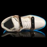 Флуоресцирование СИД ботинок женщин людей USB горячего металлического листа типа высокого верхнего поручая цветастое светящее обувает ботинки застежки -молнии PU женщин людей