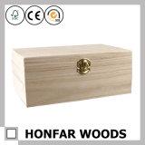Caixa de armazenamento crua inacabado da caixa de presente da madeira contínua para DIY