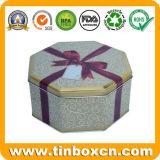 Caixa de lata de presente, recipiente de estanho, lata de presente de metal