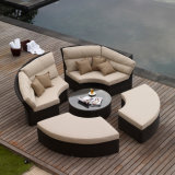 Rattan Aluminium Patio Garden Furniture Ensemble de canapé en mousse en coussin marron