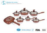Aluminium Die-Casting Non Stick Set de cuisinières Induction Bottom Ceramic Coating Marble