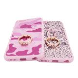 3D esfregam a caixa do telefone de Camo TPU do leopardo da vaquinha da cor-de-rosa da curva do protetor com o portador fêmea do anel de diamante (XSDD-0701)