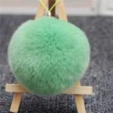 ウサギの毛皮の球のKeychainのハンドメイドの毛皮の吊り下げ式の毛皮POM POM袋の魅力