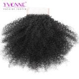 Afro-gibt lockiges brasilianisches Jungfrau-Haar-Spitze-Schliessen 100% 4X4 Teil-Menschenhaar-Schliessen-natürliche Farbe frei