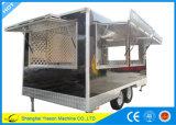 acoplado móvil de la cocina del carro móvil del alimento de la alta calidad de los 4.5m con las placas de Dimond
