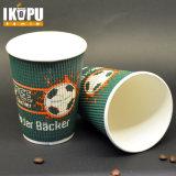 カスタムロゴによって印刷される使い捨て可能なコーヒーペーパーさざ波のコップ