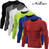 Maglietta corrente Dt5021 dei vestiti di sport di compressione degli uomini di Neleus