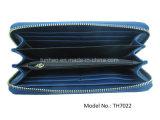 Геометрическая застежка-молния заплатки вокруг муфты PU портмона бумажника Wristlet холеной кожаный