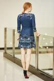 Платье Ponte пирофакела шеи фронта v застежка-молнии печатание цифров с втулкой 3 четвертей