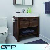 Gabinete de banheiro laminado com vaso de lavatório de cerâmica