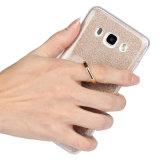 O anel do espaço livre TPU do papel do pó do Glitter forma ondas a caixa para Samsung