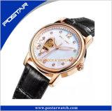 Doppelte Inner-Form-Skeleton Dame-automatische Uhr mit echtes Leder-Band