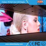 Tela video fixa ao ar livre da parede do diodo emissor de luz P8 para o quadro de avisos
