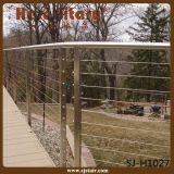 Baluster de madeira do aço inoxidável do corrimão da madeira dos trilhos do fio do Decking (SJ-X1046)