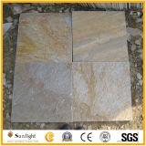 Azulejos naturales de la pizarra de la piedra del negro / gris / amarillo de la piedra para el suelo / la pared