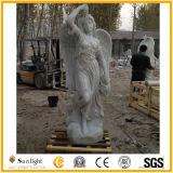 Senhora de cinzeladura de pedra de mármore branca Figura para o jardim e a decoração