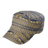 남자의 면에 의하여 인쇄되는 편평 정점 모자