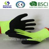 Doublure en nylon de 13 mesures, enduit de nitriles, gants de travail de sûreté de fini de Sandy (SL-NS107)