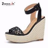 (Donna-в) сандалии клина веревочки высокой пятки кожи икры женщин Weave
