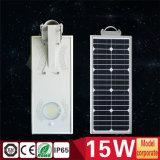 15W todo en una luz de calle solar integrada del jardín