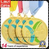 熱い販売はリボンが付いているダイカストの金のスポーツメダルを