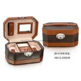 Rectángulo de joyería de cuero anaranjado del rectángulo de almacenaje de la joyería del regalo de la promoción