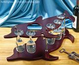 Banco di mostra di legno di vetro di vino di figura animale con immagazzinamento in la bottiglia