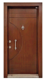 Porta simplificada do estilo de Turquia porta blindada de madeira de aço