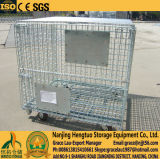 Складывать & Stackable контейнер провода, ящик паллета ячеистой сети с колесами для хранения пакгауза