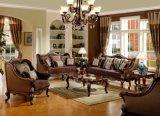 Tabella classica del tessuto del sofà dell'oggetto d'antiquariato di amore della presidenza classica della sede impostata con il blocco per grafici di legno per mobilia domestica