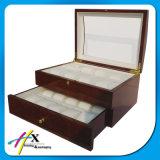 De alto brillo de 2 capas de madera reloj caja de almacenamiento con ventana