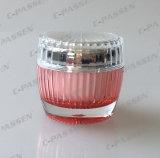 Frasco de creme acrílico cor-de-rosa de cristal da chegada nova para o empacotamento do cosmético (PPC-ACJ-066)