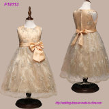 Abertos Sleeveless dos vestidos formais longos Sparkly reais do banquete de casamento dos miúdos dos Sequins do ouro dos vestidos das meninas de flor da alta qualidade da amostra curvam para trás a faixa