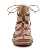 O tornozelo Atraps calç sandálias Peep-Toe da cinta da curvatura do estilo romano