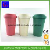 Tazza di caffè di bambù della fibra con il coperchio ed il silicone