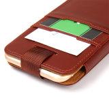 Tarjeta de cuero auténtico caja del teléfono del sostenedor de la ranura para el iPhone 7