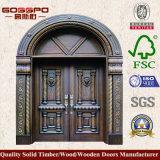Porte en bois classique d'entrée arquée par Luxry (GSP1-015)