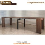 Móveis Multifuncionais Modern Design Glass Top Extension Dining Table