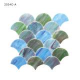 Mattonelle di mosaico Iridescent di vetro macchiato di verde blu per la cucina di Backsplash