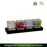 Suporte de vela de vidro do cubo para a decoração Home