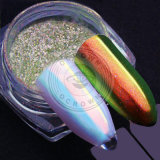 Colores múltiples del camaleón que cambian de puesto el polvo del efecto