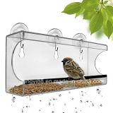Alimentador de acrílico grande y claro de encargo del pájaro de la ventana con los orificios de dren