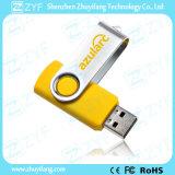 Изготовленный на заказ привод USB закрутки 8GB желтого цвета подарка устройства логоса (ZYF1816)