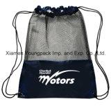 Sacos de nylon pretos feitos sob encomenda relativos à promoção da trouxa do Drawstring do saco da ginástica do engranzamento