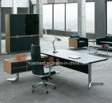 Mesa de escritório moderna do PVC do couro de madeira novo (V5)